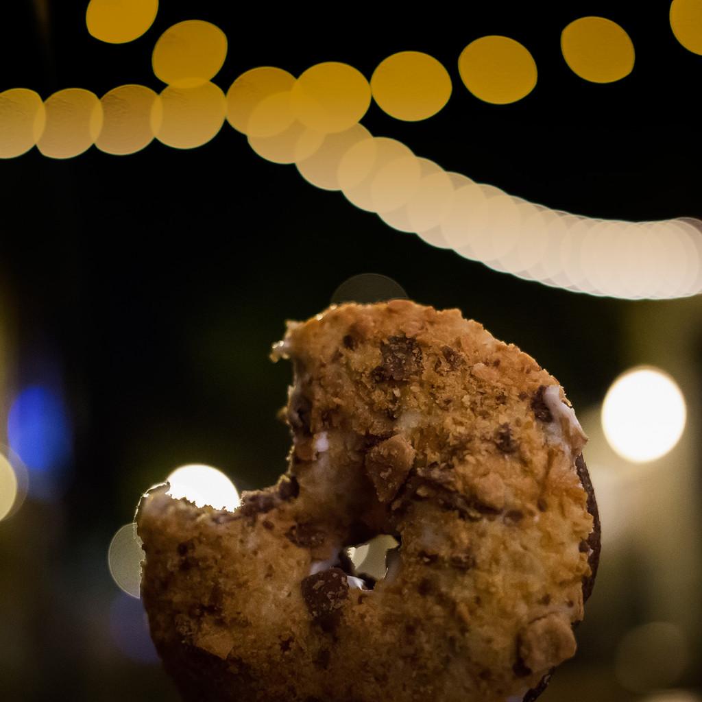 A Butterfinger doughnut from Portland's Voodoo Doughnut.