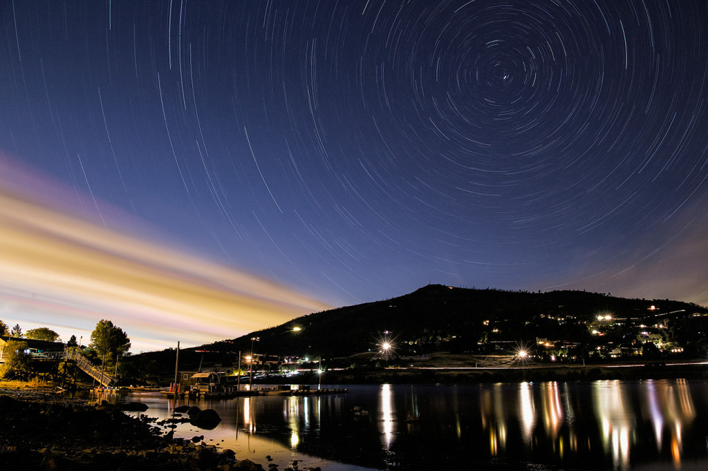 Stars over Lake Cuyamaca in August.