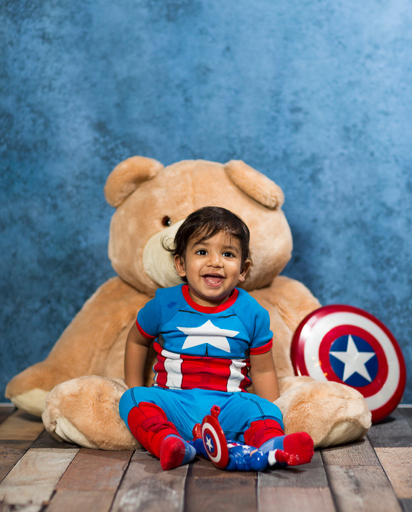 Sometimes, even Captain America needs a good cuddle with his bear.