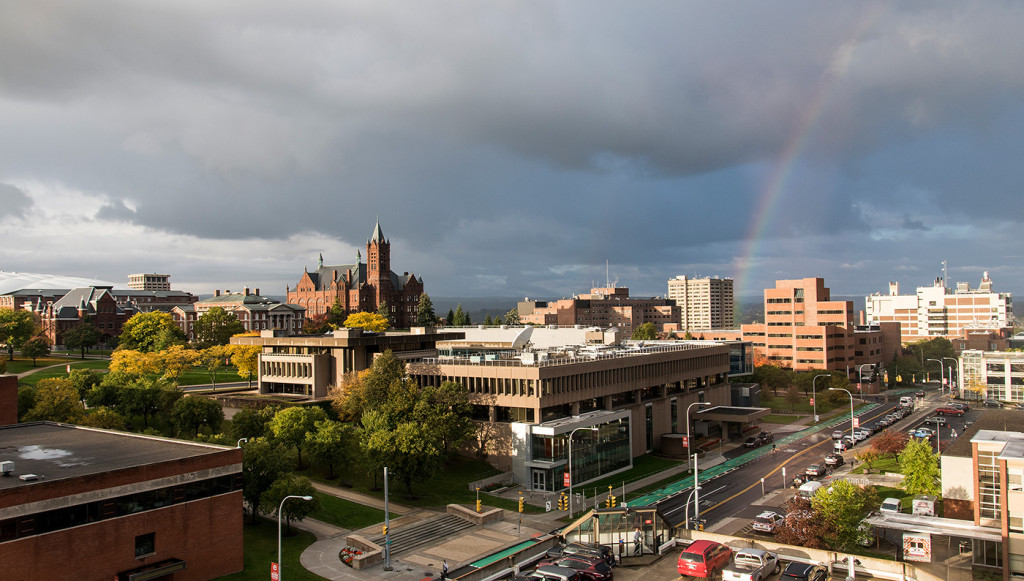 A rainbow in the skies above Syracuse University on Oct. 16, 2015.