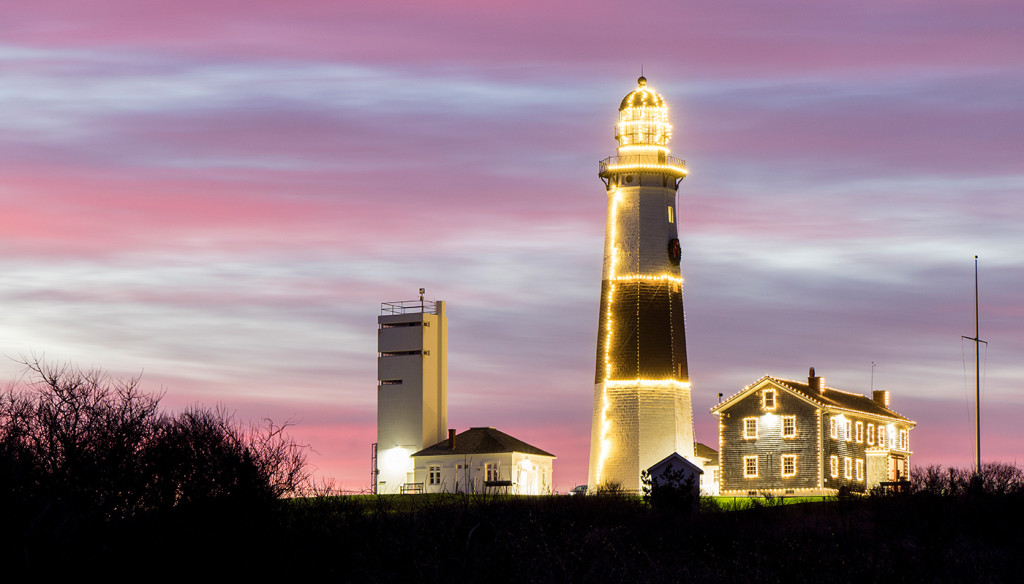 Montauk Point Lighthouse covered in Christmas lights on Dec. 7, 2015.