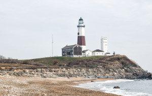 The Montauk Point Lighthouse during the day.