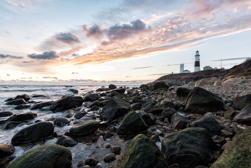 Montauk Point's Lighthouse at sunrise. (1/60 second at f/10, ISO 400, 16mm)