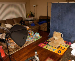 My monthly portrait setup in my living room - the key light being the one in the softbox pointed directly at the bear (and where my son would sit)