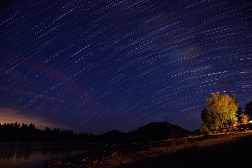 36 shots stacked to form these star trails. Settings for each: 30 sec., f/8 at ISO 1600.
