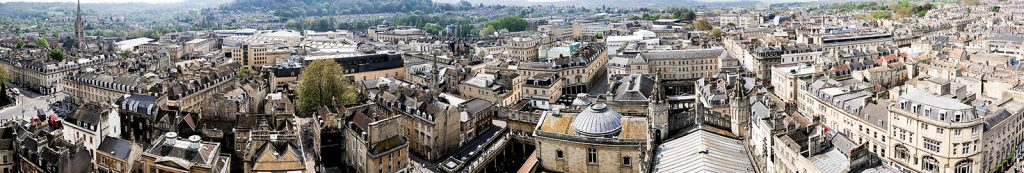 A stitched photo of Bath, UK.