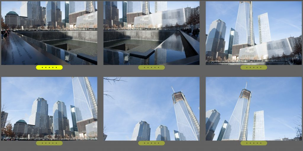 The six photos I used to stitch together the shot of the Freedom Tower.