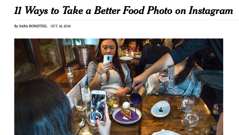 11 ways to take a better food photo on Instagram (NY Times)
